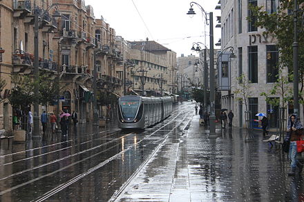 Light Rail tram on Jaffa Road Jerusalem Light Rail in Zion Square on A Rainy morning - November 2011.jpg