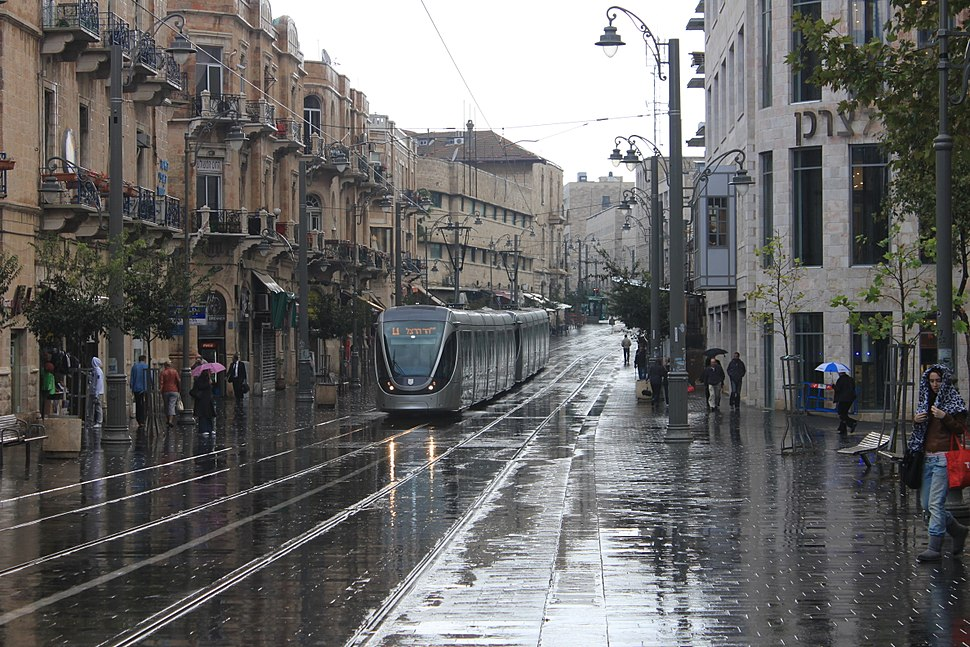 Jerusalem Light Rail in Zion Square on A Rainy morning - November 2011