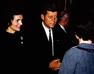 Jacqueline Kennedy Onassis - Jacqueline with her husband as he campaigns for the presidency in Appleton, Wisconsin, March 1960