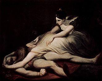 Gudrun - Kriemhild discovers Siegfried's corpse. Painting by Johann Heinrich Füssli, 1817.