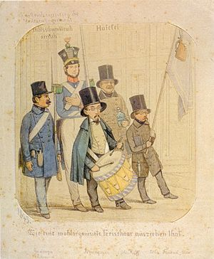 Freischar - Swiss Freischärlers with Gottfried Keller as drummer. 1845 caricature by Johannes Ruff