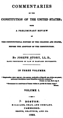 Joseph Story, Commentaries on the Constitution of the United States (1st ed, 1833, vol I, title page).png