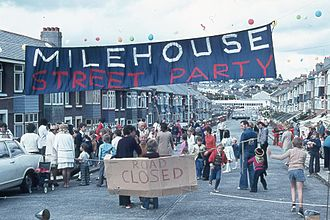 Silver Jubilee of Elizabeth II - Elaborate street parties were thrown across the country, like this one in Plymouth.