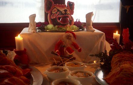 The Swedish Julbord sometimes features decorated pig heads. Julbord 1990a.jpg