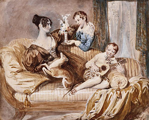 Philip Hardwick - Julia Hardwick, née Shaw, with her two sons, by Daniel Maclise. Philip Charles Hardwick on the right.