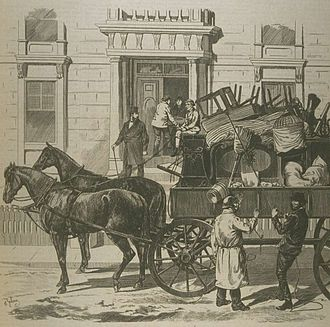 Moving Day (Quebec) - Moving Day in Montreal, as depicted by Henri Julien, 1876