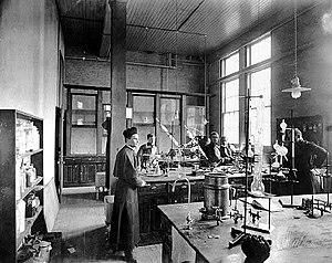 Julius Nieuwland - Fr. Julius Nieuwland in his laboratory