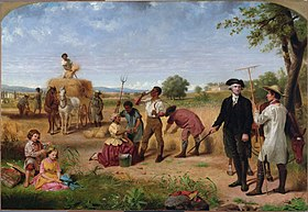 Washington the farmer is shown standing on his plantation talking to an overseer as children play and slaves work. Work is by Junius Stearns.