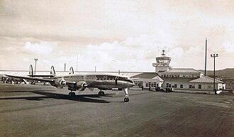 Santa Maria Airport (Azores) - A KLM Constellation at Santa Maria Airport, during the era when the island was a stopover during transatlantic travel