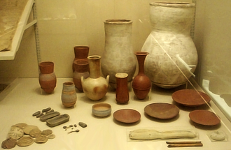 Embalming cache - Some of the pottery, dishes and other items found in KV54, the Embalming cache of Tutankhamun, on display at the Metropolitan Museum.