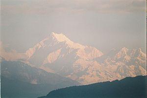 O Kanchenjunga visto de Gangtok