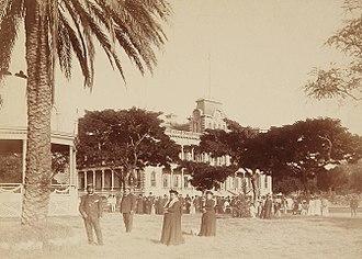 Hawaiian Renaissance - ʻIolani Palace, 1882 (foreground left to right) Kalakaua, Charles Hastings Judd, Kapiolani, and Antoinette Manini Swan.