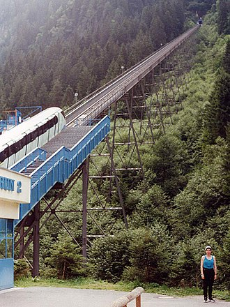 Kaprun disaster - The Gletscherbahn Kaprun 2 funicular train is waiting at the lower valley station. The train involved in the disaster caught fire shortly before leaving the valley station and entered the tunnel where it came to a halt 600 metres from the lower end. The tunnel entrance is visible in the background.