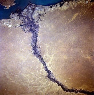 Lake Balkhash - Satellite image of the Karatal River delta