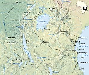Congo Arab war -  Arab East African slave routes c. 1890
