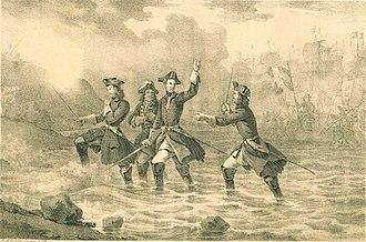 Landing at Humlebæk - Charles XII in the landing on Humlebæk, 1700