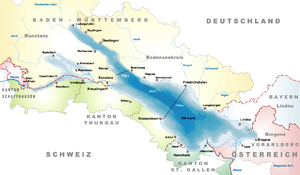 Bodanrück - Map of Lake Constance, with the Bodanrück being the long peninsula in the northwest.