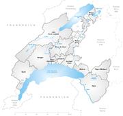Karte Kanton Waadt Bezirke 2008