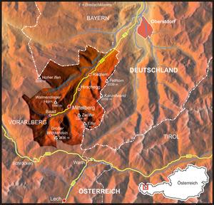 Kleinwalsertal - Image: Karte Kleinwalsertal SRTM3