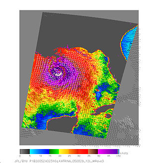 QuikSCAT - QuikSCAT image of Hurricane Katrina on August 28, 2005 over the Gulf of Mexico