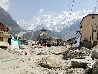 Kedarnath Temple - Front view of the Kedarnath Temple in the aftermath of the flood