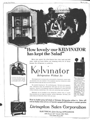 Kelvinator - Kelvinator ad from 1920.