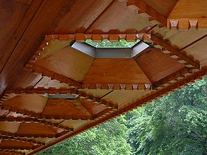 Kentuck Knob - Skylights on the exterior porch of Kentuck Knob showing Wright's usage of red cypress