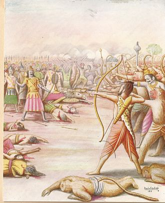 Indrajit - Killing Of Indrajit Painting By Balasaheb Pant Pratinidhi