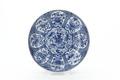 Kinesiskt tefat av porslin med blommor i blå underglasyrmålning, från 1662-1722 - Skoklosters slott - 93545.tif