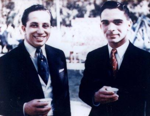Arab Federation - King Hussein with his cousin King Faisal.