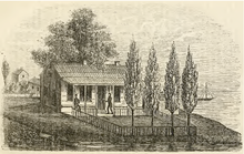Black and white sketch of a well-kept log house, with multiple windows, a front porch, fence and landscape. Two people are on the porch.