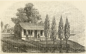 John Kinzie - 1857 drawing of John Kinzie house c. 1804, near the mouth of the Chicago River. The house was built by Jean Baptiste Point du Sable.