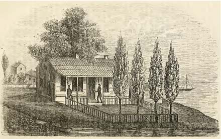 Drawing of the former home of Jean Baptiste Point du Sable in Chicago as it appeared in the early 1800s Kinzie House.png
