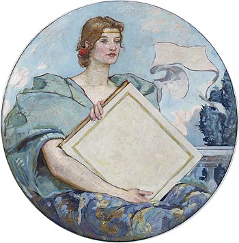 English: Knowledge, mural by Robert Lewis Reid...