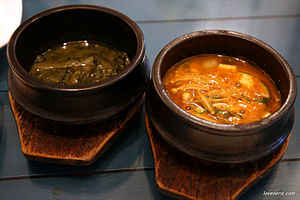 Ttukbaegi - Two jjigae (stew) served in ttukbaegi