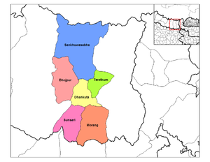 Morang District - Location of Morang in Koshi Zone
