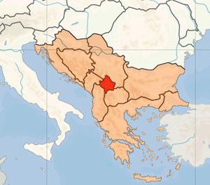 Location of Kosovo in Europe on 1. Januar 2007