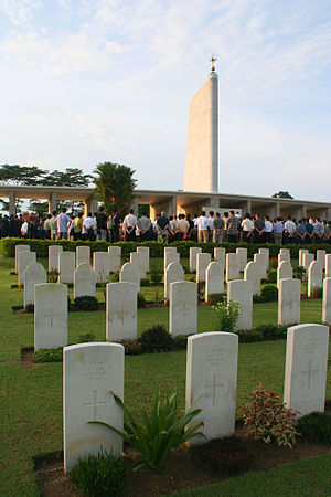 The Kranji War Memorial with the War Cemetery in the foreground during the Remembrance Day Ceremony proceedings on 13 November 2005