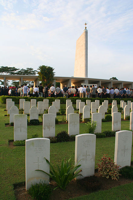 The Kranji War Cemetery in Singapore is the final resting place for Allied soldiers who perished during the Battle of Singapore and the subsequent Japanese occupation of the island Kranji War Memorial 02.jpg