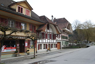 Krauchthal - Half-timbered houses in the center of Krauchthal village