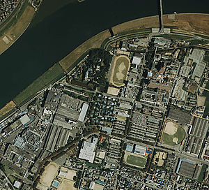 Kurume Domain - The site of Kurume Castle, as seen from the air
