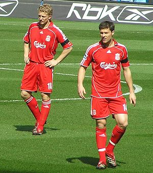 Dirk Kuyt and Xabi Alonso