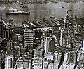 Légifotó Manhattan déli részéről, háttérben a Hudson folyó, jobbra kimagaslik a Woolworth Building. Fortepan 95075.jpg