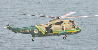 Los Angeles County Sheriff's Department - LASD's Rescue 5, a Sikorsky SH-3H Sea King helicopter, over Rancho Palos Verdes.