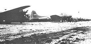 Eleventh Air Force - LB-30 and B-17E of the 36th Bombardment Squadron at Unmnak (Fort Glenn AAF), June 1942.  The B-17E (41–9126) was lost on 28 August 1942