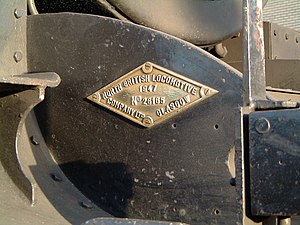 North British Locomotive Company - NBL works plate on LNER B1 No. 1264 (NBL 26165 of 1947). The diamond shaped plate was fitted to locomotives built at the company's Queen's Park Works in Polmadie, a continuation of a tradition started by Dübs and Company.