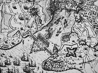 Clément Métezeau - Image: La Rochelle during the 1628 siege seawall
