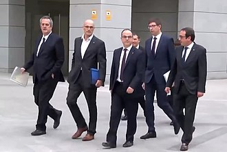 Catalan Republic (2017) - Members of the deposed Catalan government before testifying at the Spanish National Court in Madrid.