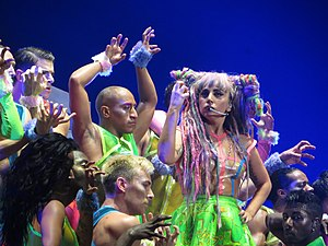 "Bad Romance - Gaga performing ""Bad Romance"" on ArtRave: The Artpop Ball in a rave-inspired costume"