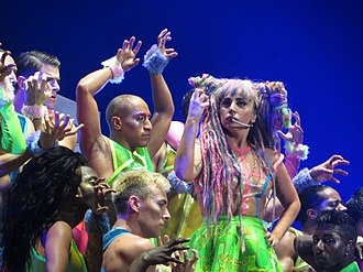 """Bad Romance - Gaga performing """"Bad Romance"""" on 2014's ArtRave: The Artpop Ball dressed in a rave-inspired costume"""